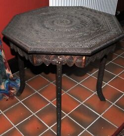Hand Carved Wood Table