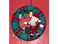 Handmade crochet Christmas wreath (Santa).