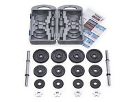 York Fitness Cast Iron Dumbbell weights Spinlock Set with Case