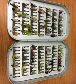 Aluminium 6inch fly box with approx 60 flies