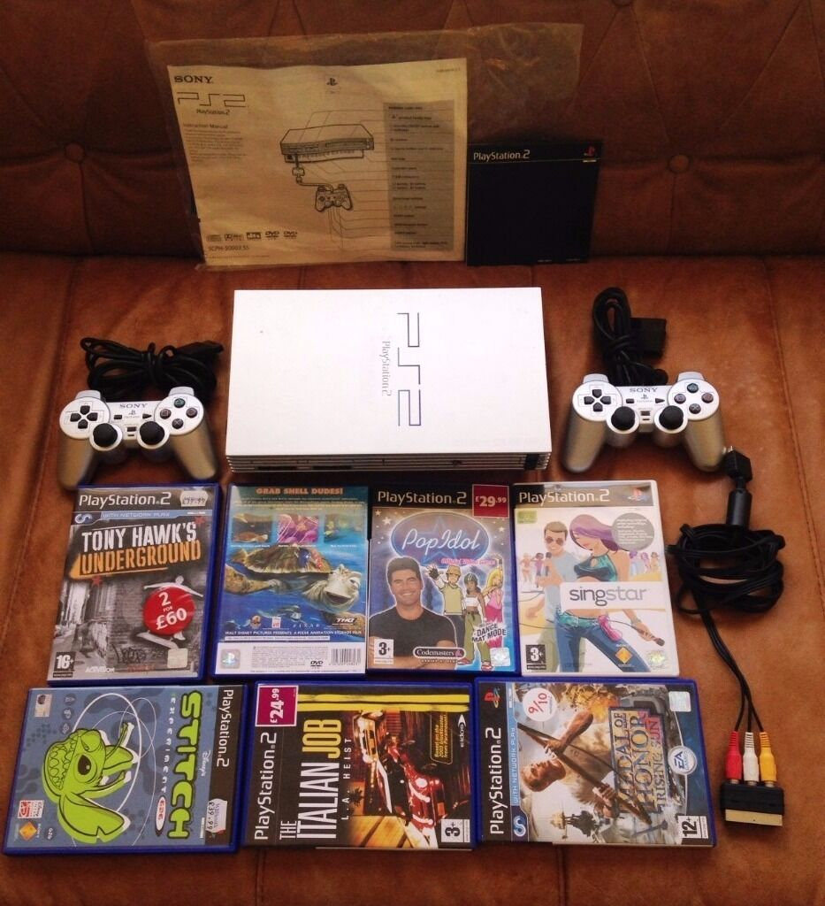 sony playstation 2 cd. sony playstation 2 with controllers, 7 games\u0027 cds, maual/cd playstation cd