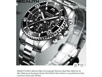 MEGALITH MENS CHRONOGRAPH STAINLESS STEEL QUARTZ MOVEMENT DIVERS WATCH