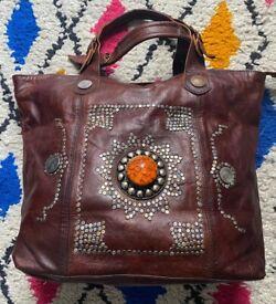 Large Leather Tote, Studded brown , Vintage Moroccan Berber Bag, Handmade Women's Shopper,