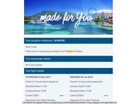 Return flight ticket from Stansted to Cyprus 24th Dec 2017 - 6th Jan 2018