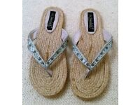NEW TIMELESS BLUE FLIP FLOPS Bead Embroidery Satin Hessian Beach Wear Sandals Shoes Size 8 Accessory