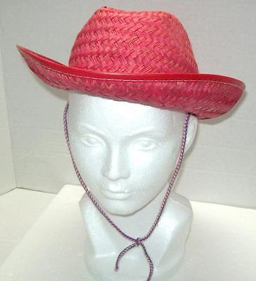 RED STRAW COWBOY COWGIRL HAT HALLOWEEN Party COSTUME Western THEME Hayride Dance