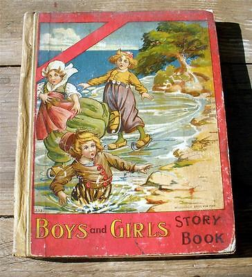 Antique 1911 BOYS AND GIRLS Story Book Childrens Book McLoughlin Bros Kids Storybook Girl