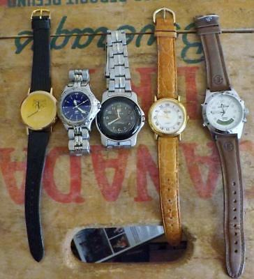 """Lot of 5 Working Mens"""" Watches: Kodak, Fossil, Timex Exped., Swiss Army, Guess"""