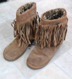 Next Brown suede Ugg style boots.