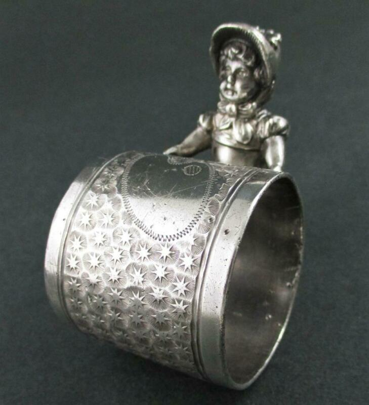Kate GREENAWAY Figural GIRL in a Bonnet & Apron - Star Studded NAPKIN RING #032