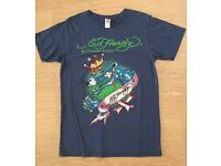 Brand new vintage Ed Hardy men's T-shirt. Blue. Medium. King Panther design. Decorated w rhinestones