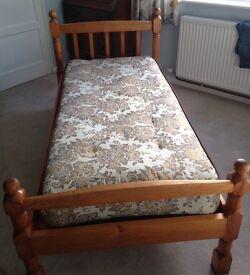 Single pine bed, handmade, solid