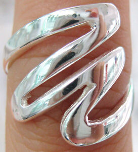 REAL SOLID 925 STERLING SILVER PLAIN SWIRL RING - SIZE J TO Y AVAILABLE
