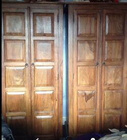 Indian 4 piece solid hardwood wardrobes and drawers bedroom set