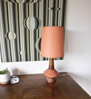 Gorgeous Retro 1960's Vintage Orange Danish Table Lamp