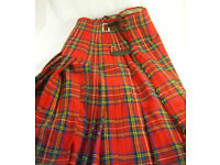 "Vintage Tartan Kilt 26"" Length to Fit approx 24"" Waist Ideal for Theatre Production (WH_1890)"