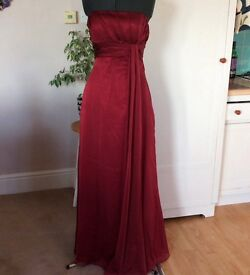Long Red chiffon dress size 12 bridesmaid mother of Bride prom Ball gown *RRP £240!*