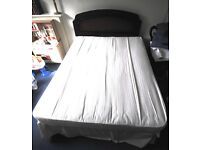 Double Bed, good mattress and walnut bedhead