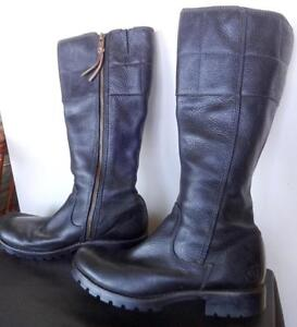 TIMBERLAND LEATHER BOOTS $200+ BLACK WOMENS 8.5 - 9M Goth Punk Rock Solid Flat Slim Ankles Good Snow Traction OAKVILLE
