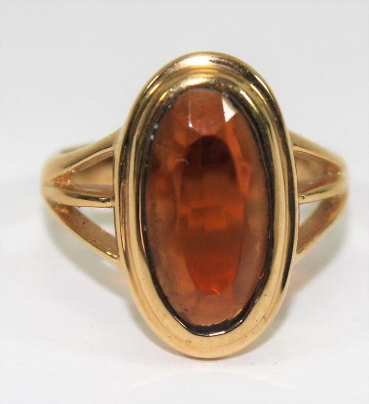 Ladies Vintage Avon Gold Tone Ring with Amber Colored Faceted Stone Size 7
