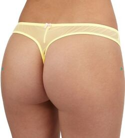 Ladies Sexy Satin Yellow Thong