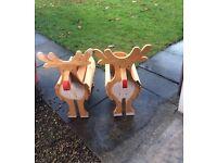 TWO Reindeer Wooden planters.