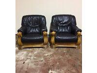 Pair of Italian Black Leather Oak Framed Armchairs