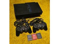Sony PlayStation 2 PS2 Console with Controllers Memory Cards and Network Adapter