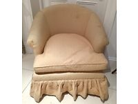 Comfy tub chair/nursing chair in light brown fabric