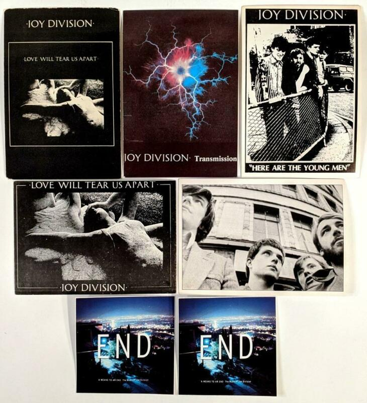 "Joy Division - Lot of 5 Vintage Postcards + ""A Means to an End"" Promo Stickers"