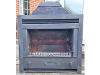 Open convector fireplace with 54cm multi-fuel grate + 20cm dia. flue gather from Keddy in Sweden