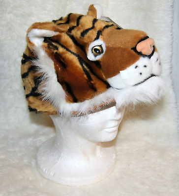 Adult Tiger Halloween Costume (TIGER HAT awesome furry animal cap ADULT mens womens halloween COSTUME HEAD)
