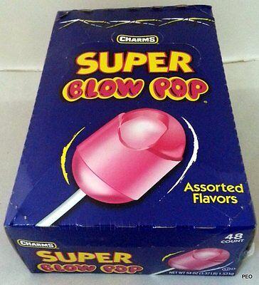 Charms Super Blow Pop 48 Count Box Suckers Pops Lollipops Candy Bulk Candies