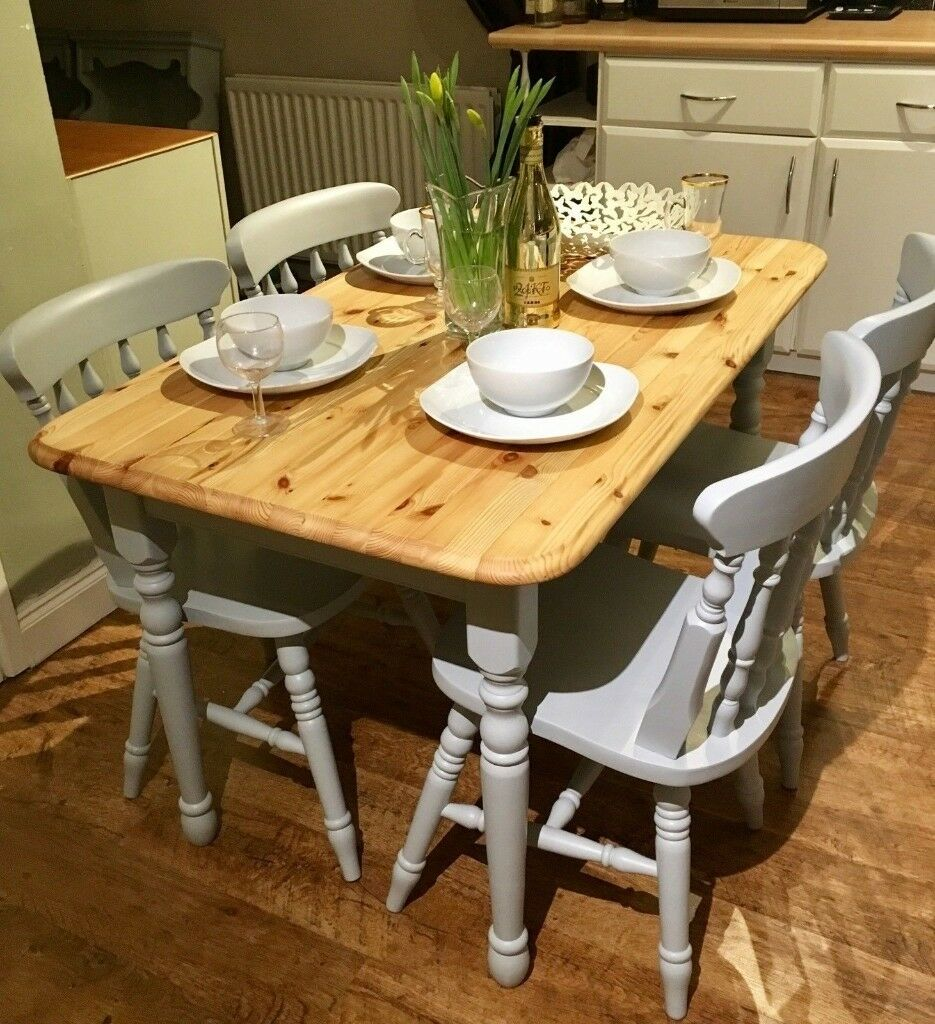 Farmhouse country dining table urbane grey eggshell paint