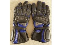 Postage Available *Motorcycle Sports Gloves *Blue Black *Size Large 10cm *VGC