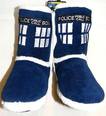 DOCTOR dr WHO plush punk TARDIS blue SLIPPERS shoes BOOTS size small 5/6](Doctor Who Slippers)