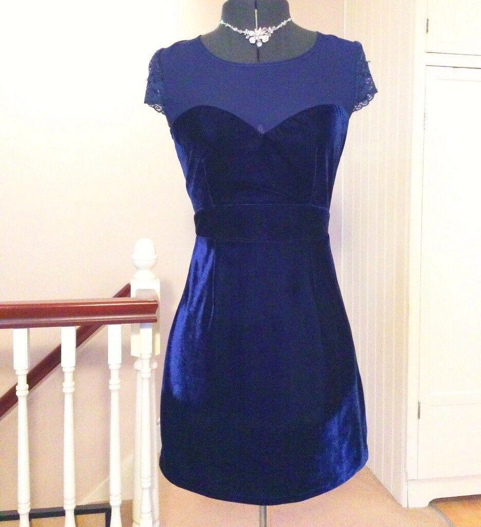 Topshop Asos Navy Blue Velvet Velour & Lace Low Back Party Dress Size 10 12 Xmas Party