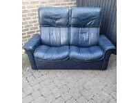 Retro Stressless Leather Reclining Sofa Delivery Available