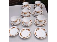 Queen Anne Bone China Cups, Saucers and tea plates Harvest type design