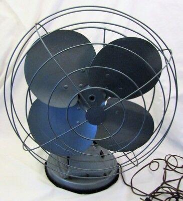 Vintage Metal Electric Steampunk Oscillating Desk Fan Light Blue 3 Speed -