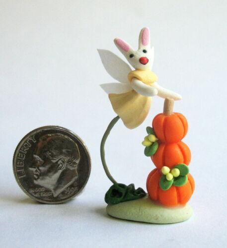 Handmade Miniature   HARVEST BUNNY FAIRY WITH PUMPKIN STACK - OOAK C. Rohal