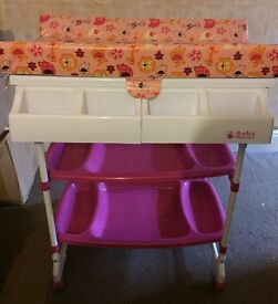 VGC Pink Nappy Changinging Table, Bath & Storage.