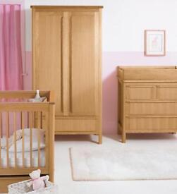 M&S 'Chloe' Oak Nursery Furniture Cot Bed, Wardrobe & Chest of Drawers with Changing Unit