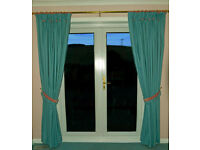 Fully lined, pinch pleat lounge curtains with tiebacks (aqua with pink trim) 200cm wide x 215cm drop