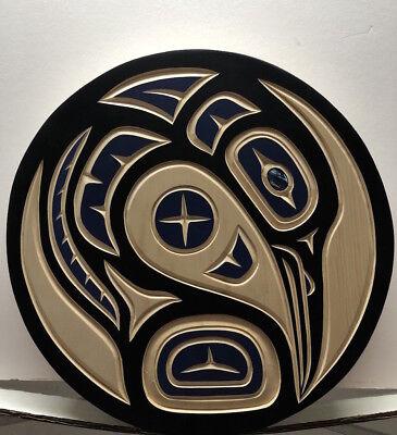 Harvey JOHN Original Haida Carving Blue Heron Hand Painted Native art Cedar  for sale  Canada