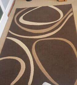 Patina designer modern RUG wi wave swirl pattern brown chocloate beige unit wall cabinet draw desk