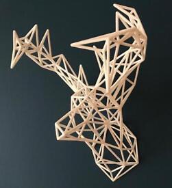 Geometric Wireframe Stag Deer Head