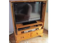 TV Cabinet in solid pine with two drawers and two shelves