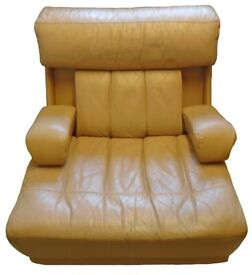1970s Tetrad Tan Leather Modular Armchair Folding / Concealed Arms Mid Century Vintage Retro Chair