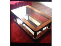 Lovely coffee table, veneer coffee table. Mirror and glass coffee table